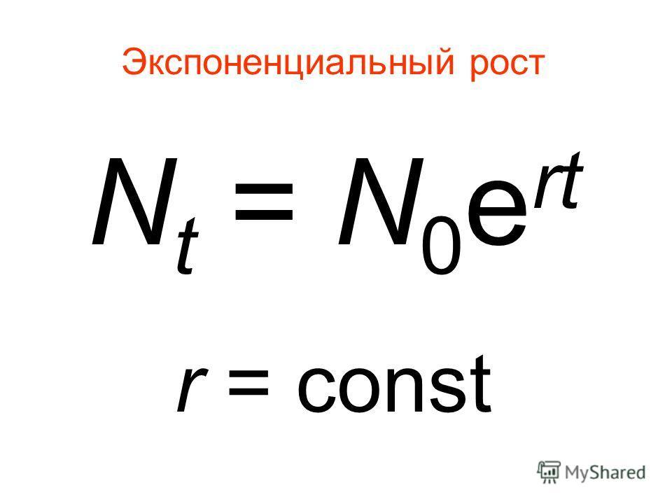 Экспоненциальный рост N t = N 0 e rt r = const