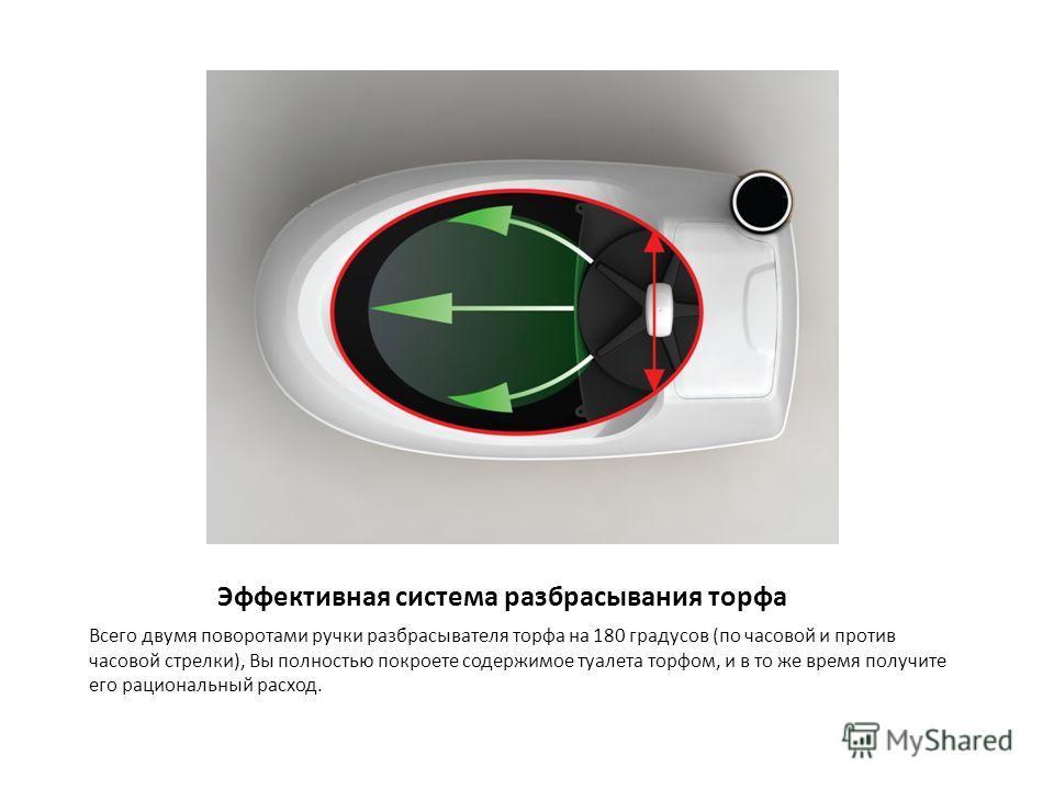 Эффективная система разбрасывания торфа Всего двумя поворотами ручки разбрасывателя торфа на 180 градусов (по часовой и против часовой стрелки), Вы полностью покроете содержимое туалета торфом, и в то же время получите его рациональный расход.