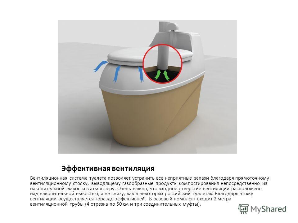 Эффективная вентиляция Вентиляционная система туалета позволяет устранить все неприятные запахи благодаря прямоточному вентиляционному стояку, выводящему газообразные продукты компостирования непосредственно из накопительной ёмкости в атмосферу. Очен