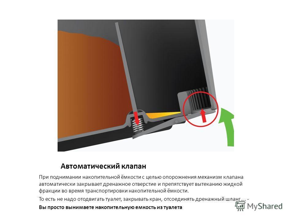Автоматический клапан При поднимании накопительной ёмкости с целью опорожнения механизм клапана автоматически закрывает дренажное отверстие и препятствует вытеканию жидкой фракции во время транспортировки накопительной ёмкости. То есть не надо отодви