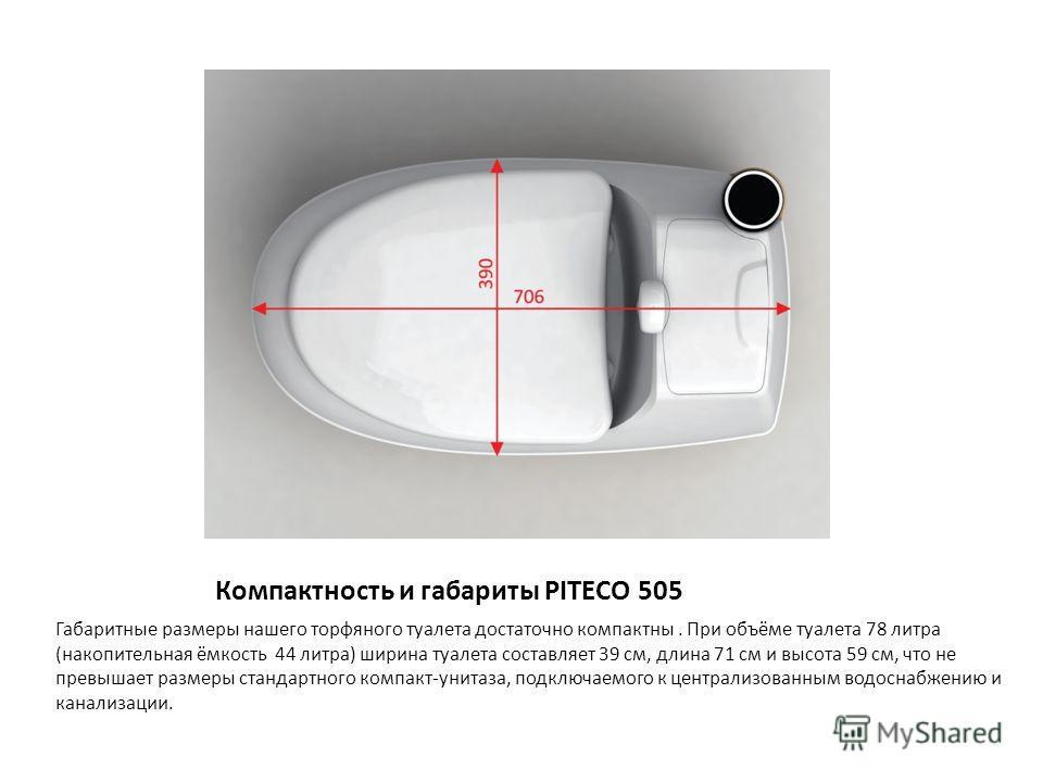 Компактность и габариты PITECO 505 Габаритные размеры нашего торфяного туалета достаточно компактны. При объёме туалета 78 литра (накопительная ёмкость 44 литра) ширина туалета составляет 39 см, длина 71 см и высота 59 см, что не превышает размеры ст