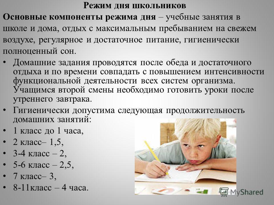 Режим дня школьников Основные компоненты режима дня – учебные занятия в школе и дома, отдых с максимальным пребыванием на свежем воздухе, регулярное и достаточное питание, гигиенически полноценный сон. Домашние задания проводятся после обеда и достат