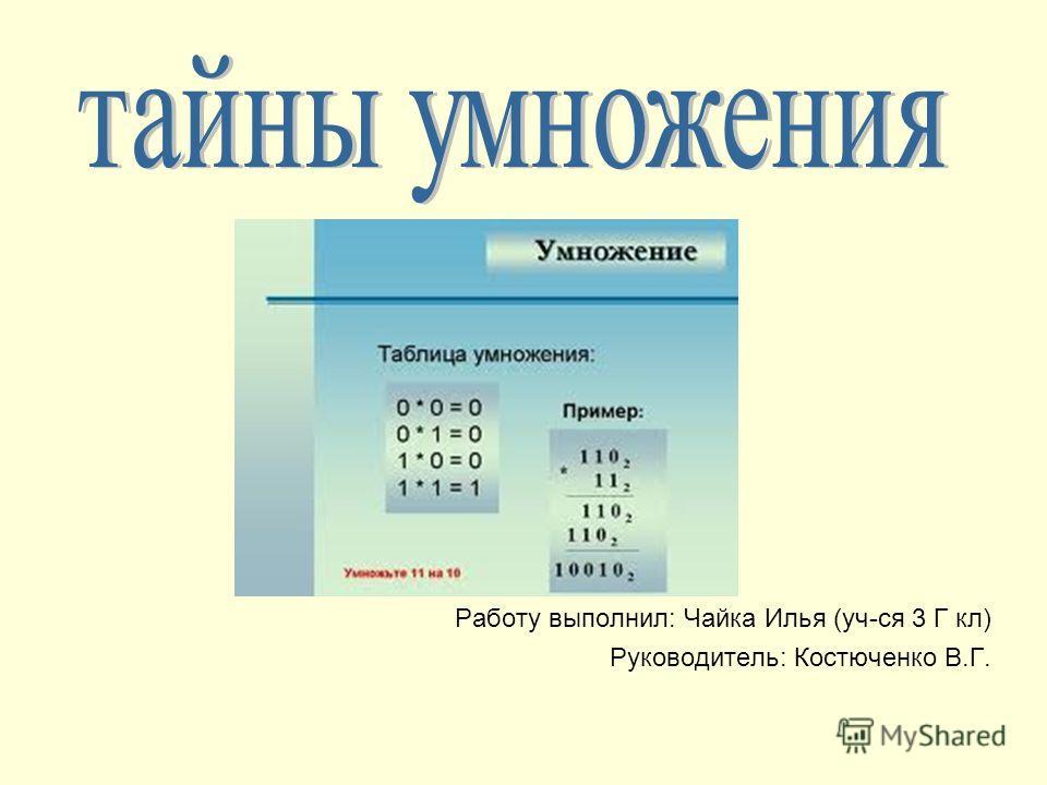 Работу выполнил: Чайка Илья (уч-ся 3 Г кл) Руководитель: Костюченко В.Г.