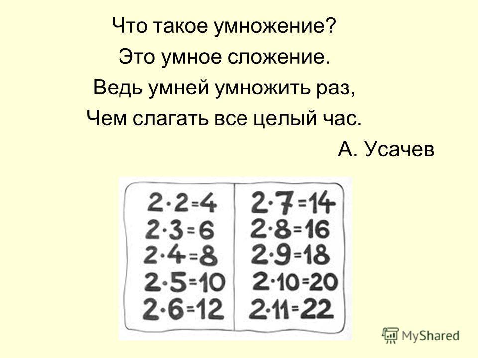 Что такое умножение? Это умное сложение. Ведь умней умножить раз, Чем слагать все целый час. А. Усачев