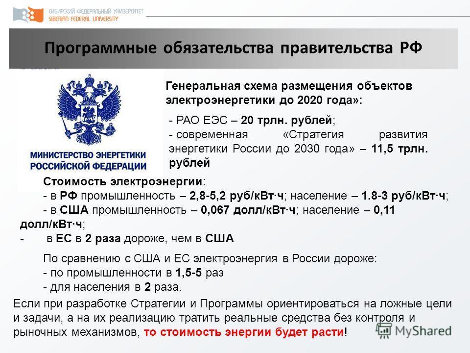 Программные обязательства правительства РФ - РАО ЕЭС – 20 трлн. рублей; - современная «Стратегия развития энергетики России до 2030 года» – 11,5 трлн. рублей Генеральная схема размещения объектов электроэнергетики до 2020 года»: Если при разработке С