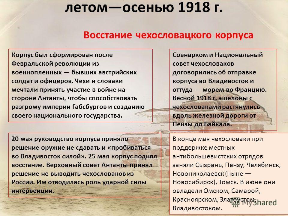 летомосенью 1918 г. Восстание чехословацкого корпуса Корпус был сформирован после Февральской революции из военнопленных бывших австрийских солдат и офицеров. Чехи и словаки мечтали принять участие в войне на стороне Антанты, чтобы способствовать раз