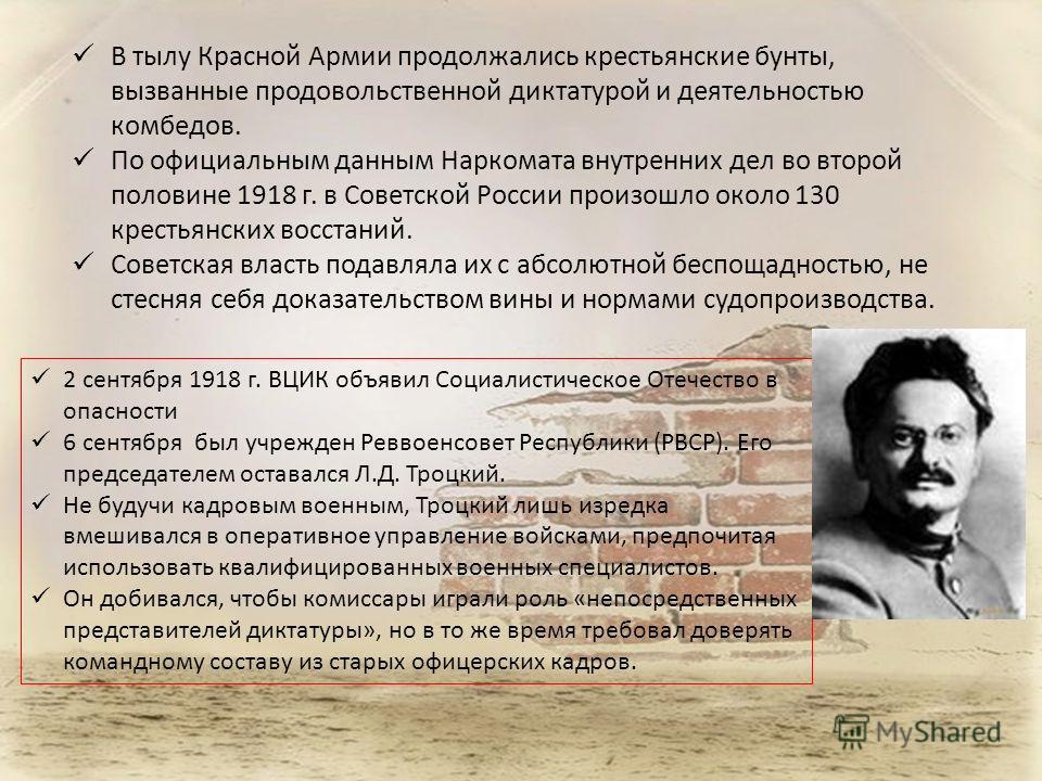 В тылу Красной Армии продолжались крестьянские бунты, вызванные продовольственной диктатурой и деятельностью комбедов. По официальным данным Наркомата внутренних дел во второй половине 1918 г. в Советской России произошло около 130 крестьянских восст