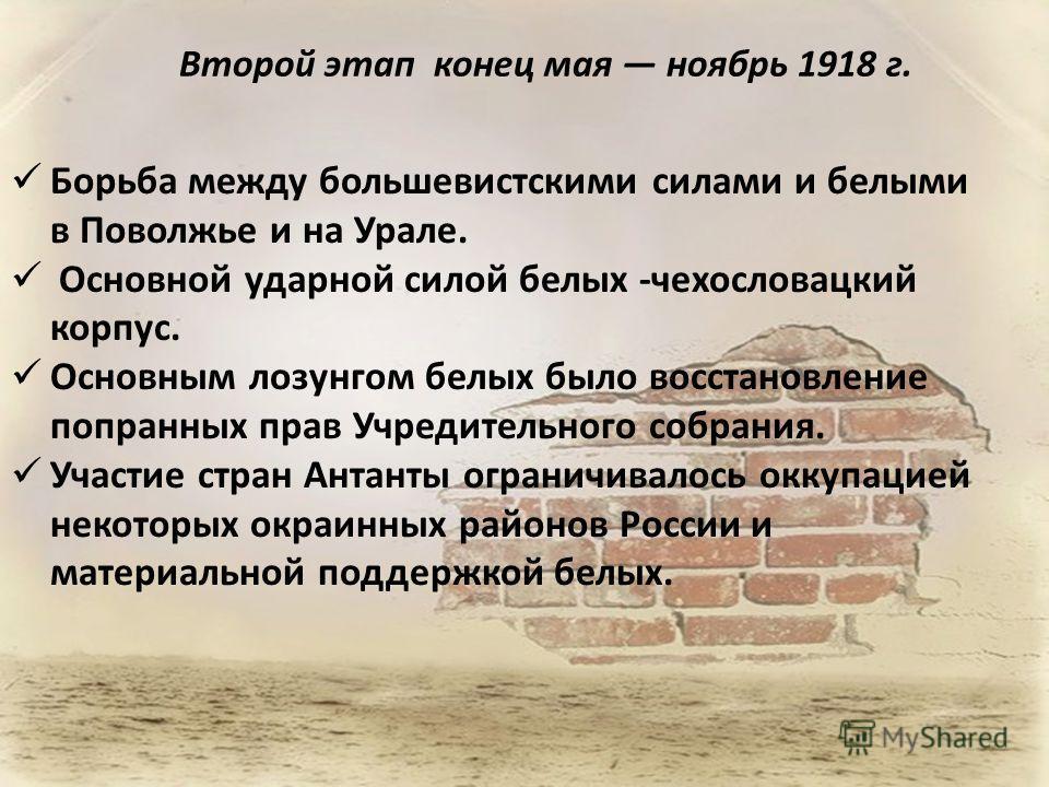 Второй этап конец мая ноябрь 1918 г. Борьба между большевистскими силами и белыми в Поволжье и на Урале. Основной ударной силой белых -чехословацкий корпус. Основным лозунгом белых было восстановление попранных прав Учредительного собрания. Участие с