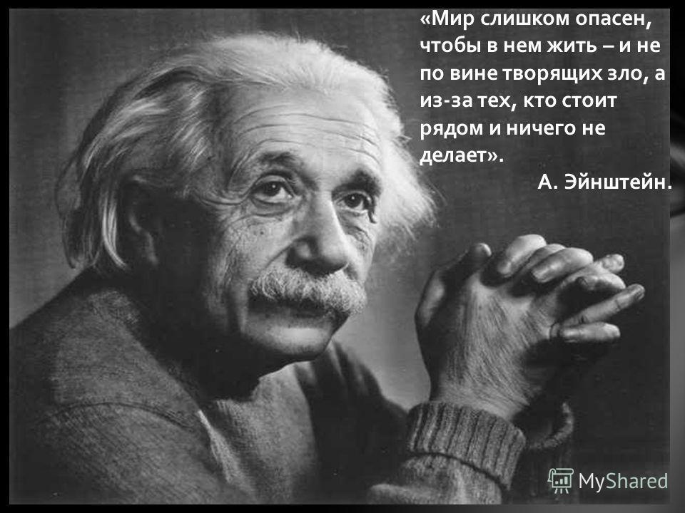 «Мир слишком опасен, чтобы в нем жить – и не по вине творящих зло, а из-за тех, кто стоит рядом и ничего не делает». А. Эйнштейн.