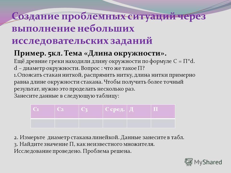 Создание проблемных ситуаций через выполнение небольших исследовательских заданий Пример. 5кл. Тема «Длина окружности». Ещё древние греки находили длину окружности по формуле C = П*d. d – диаметр окружности. Вопрос : что же такое П? 1.Опоясать стакан