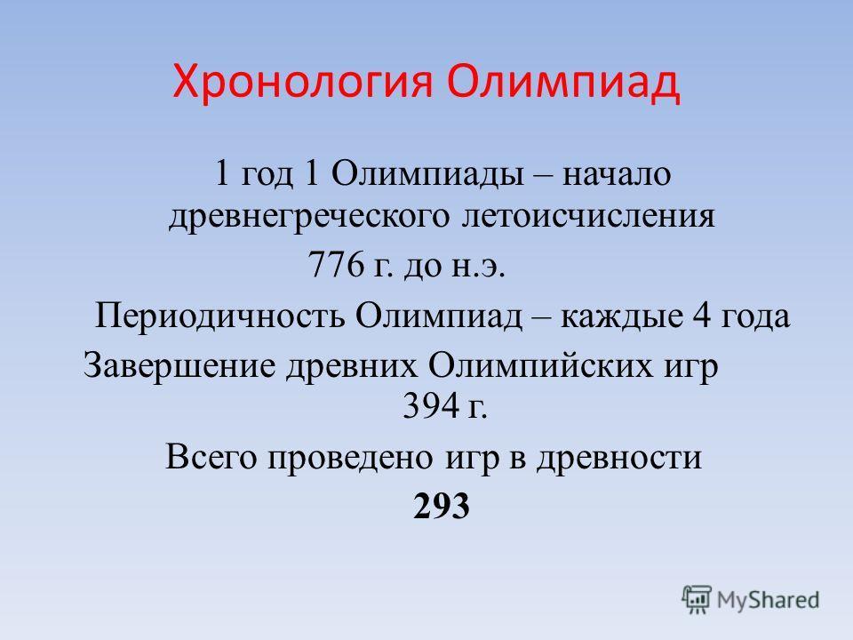 Хронология Олимпиад 1 год 1 Олимпиады – начало древнегреческого летоисчисления 776 г. до н.э. Периодичность Олимпиад – каждые 4 года Завершение древних Олимпийских игр 394 г. Всего проведено игр в древности 293
