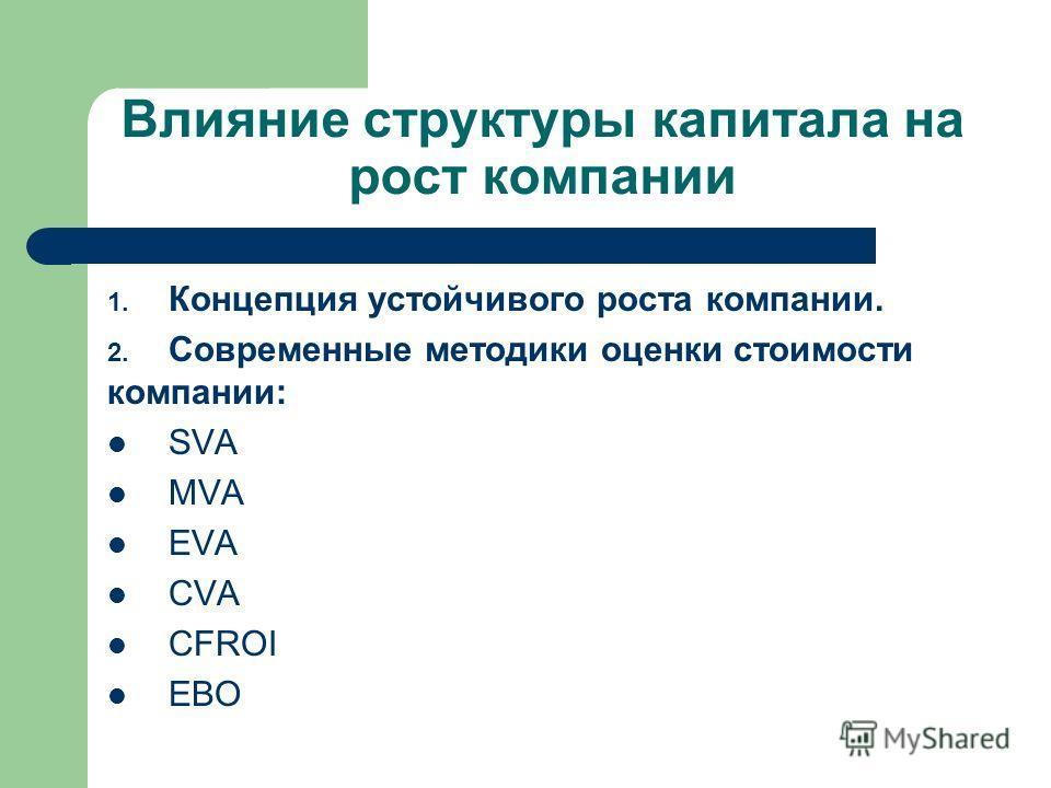Влияние структуры капитала на рост компании 1. Концепция устойчивого роста компании. 2. Современные методики оценки стоимости компании: SVA MVA EVA CVA CFROI EBO