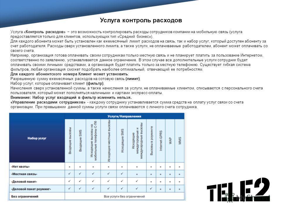 Услуга контроль расходов Услуга «Контроль расходов» это возможность контролировать расходы сотрудников компании на мобильную связь (услуга предоставляется только для клиентов, использующих тип «Средний бизнес»). Для каждого абонента может быть устано