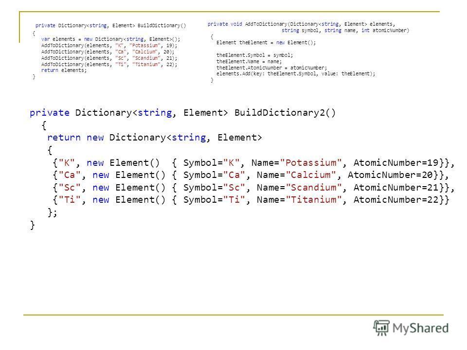private Dictionary BuildDictionary2() { return new Dictionary { {