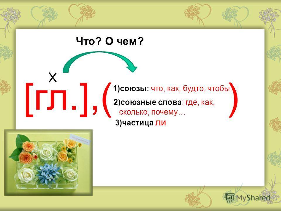 [гл.],( ) 1)союзы: что, как, будто, чтобы… 2)союзные слова: где, как, сколько, почему… 3)частица ли Что? О чем?