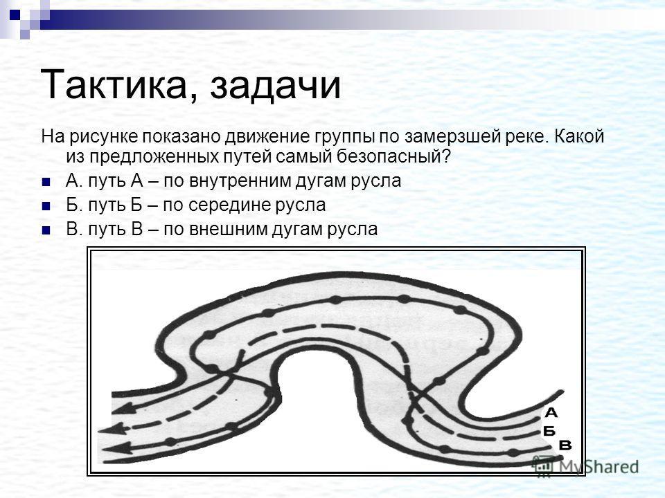Тактика, задачи На рисунке показано движение группы по замерзшей реке. Какой из предложенных путей самый безопасный? А. путь А – по внутренним дугам русла Б. путь Б – по середине русла В. путь В – по внешним дугам русла