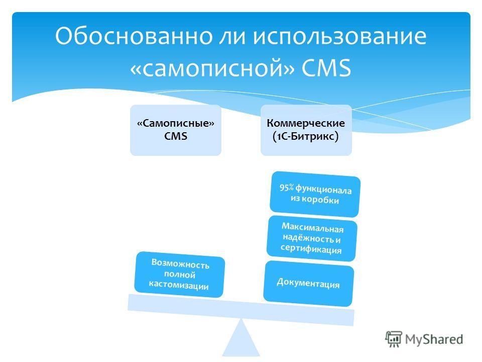 «Самописные» CMS Коммерческие (1С-Битрикс) Документация Максимальная надёжность и сертификация 95% функционала из коробки Возможность полной кастомизации Обоснованно ли использование «самописной» CMS