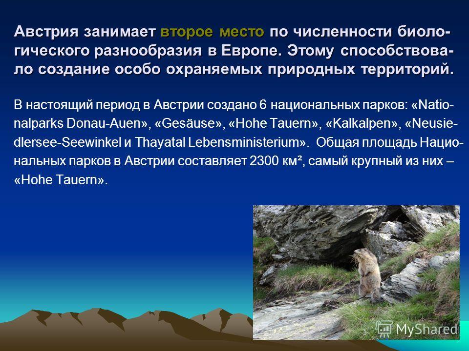 Австрия занимает второе место по численности биоло- гического разнообразия в Европе. Этому способствова- ло создание особо охраняемых природных территорий. В настоящий период в Австрии создано 6 национальных парков: «Natio- nalparks Donau-Auen», «Ges