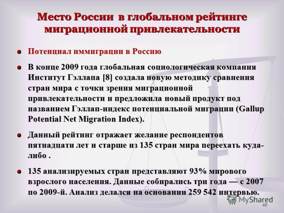Место России в глобальном рейтинге миграционной привлекательности Потенциал иммиграции в Россию В конце 2009 года глобальная социологическая компания Институт Гэллапа [8] создала новую методику сравнения стран мира с точки зрения миграционной привлек