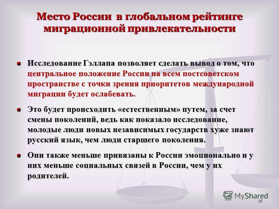 Место России в глобальном рейтинге миграционной привлекательности Исследование Гэллапа позволяет сделать вывод о том, что центральное положение России на всем постсоветском пространстве с точки зрения приоритетов международной миграции будет ослабева
