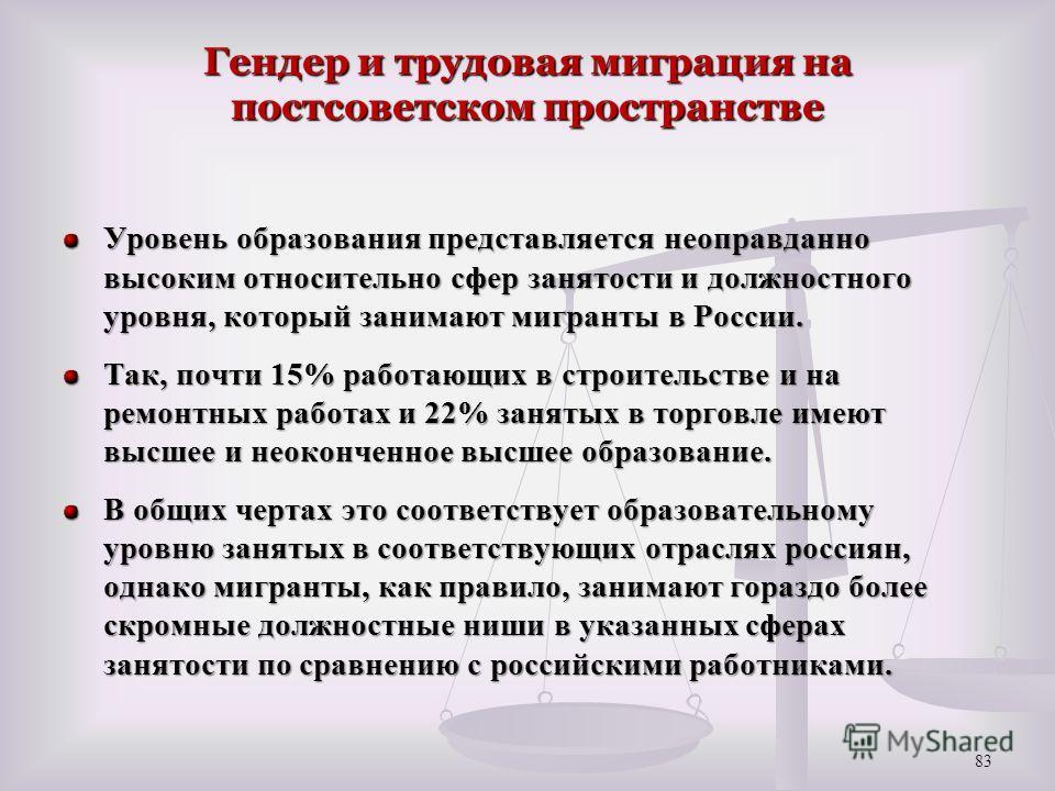 Гендер и трудовая миграция на постсоветском пространстве Уровень образования представляется неоправданно высоким относительно сфер занятости и должностного уровня, который занимают мигранты в России. Так, почти 15% работающих в строительстве и на рем