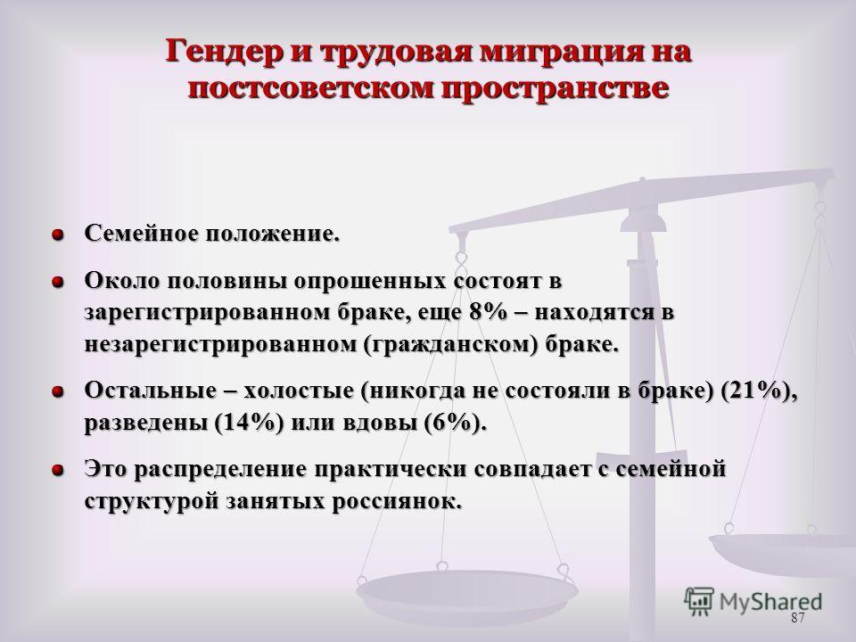 Гендер и трудовая миграция на постсоветском пространстве Семейное положение. Около половины опрошенных состоят в зарегистрированном браке, еще 8% – находятся в незарегистрированном (гражданском) браке. Остальные – холостые (никогда не состояли в брак