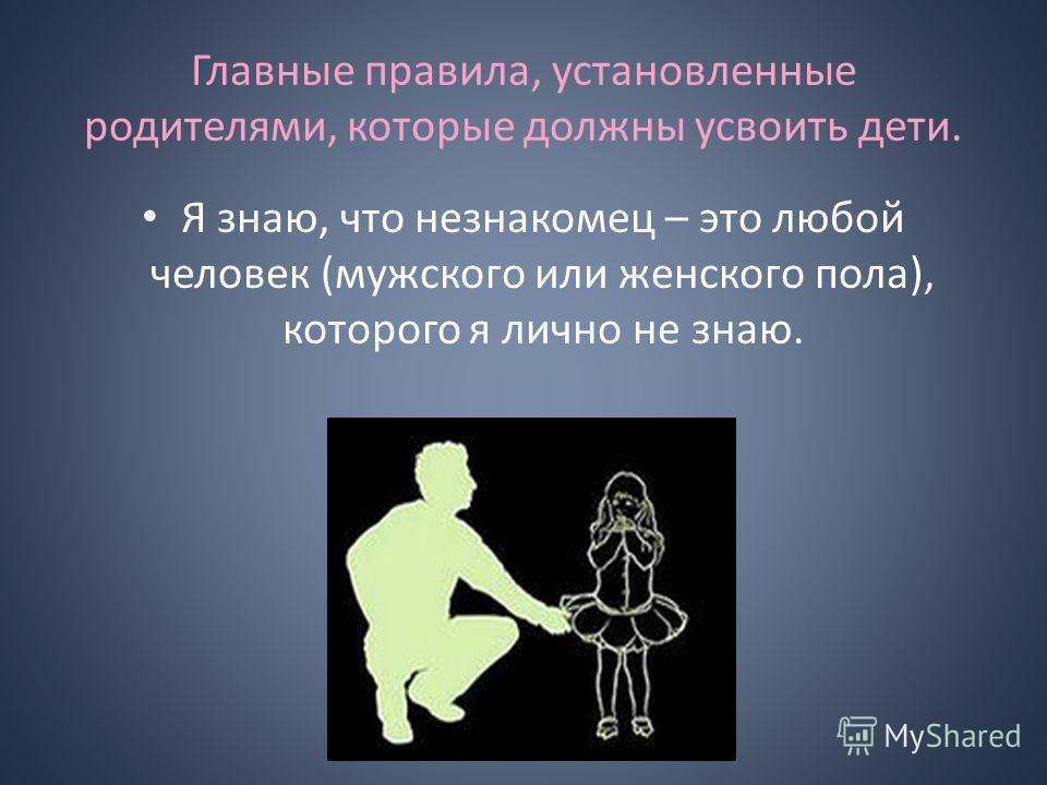Главные правила, установленные родителями, которые должны усвоить дети. Я знаю, что незнакомец – это любой человек (мужского или женского пола), которого я лично не знаю.