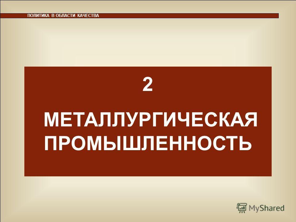 25 ПОЛИТИКА В ОБЛАСТИ КАЧЕСТВА 2 МЕТАЛЛУРГИЧЕСКАЯ ПРОМЫШЛЕННОСТЬ