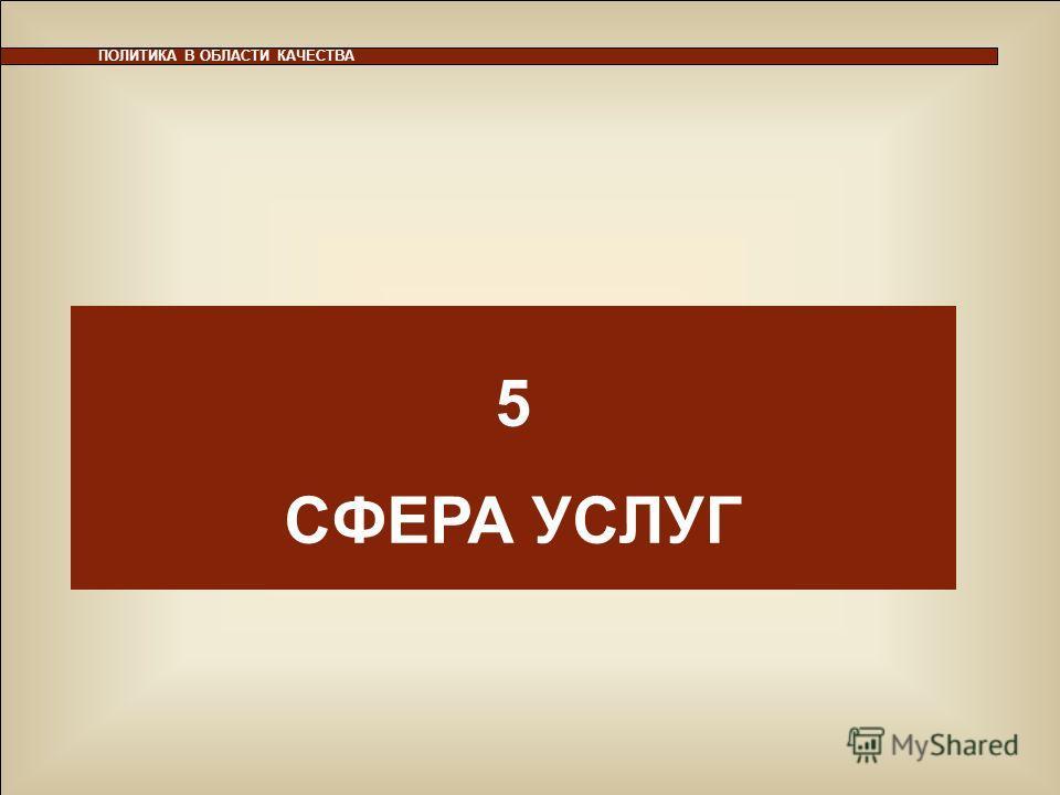 35 5 СФЕРА УСЛУГ ПОЛИТИКА В ОБЛАСТИ КАЧЕСТВА 5 СФЕРА УСЛУГ