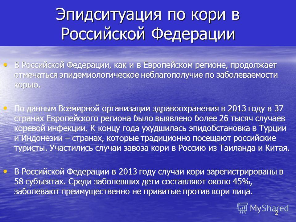 Эпидситуация по кори в Российской Федерации В Российской Федерации, как и в Европейском регионе, продолжает отмечаться эпидемиологическое неблагополучие по заболеваемости корью. В Российской Федерации, как и в Европейском регионе, продолжает отмечать