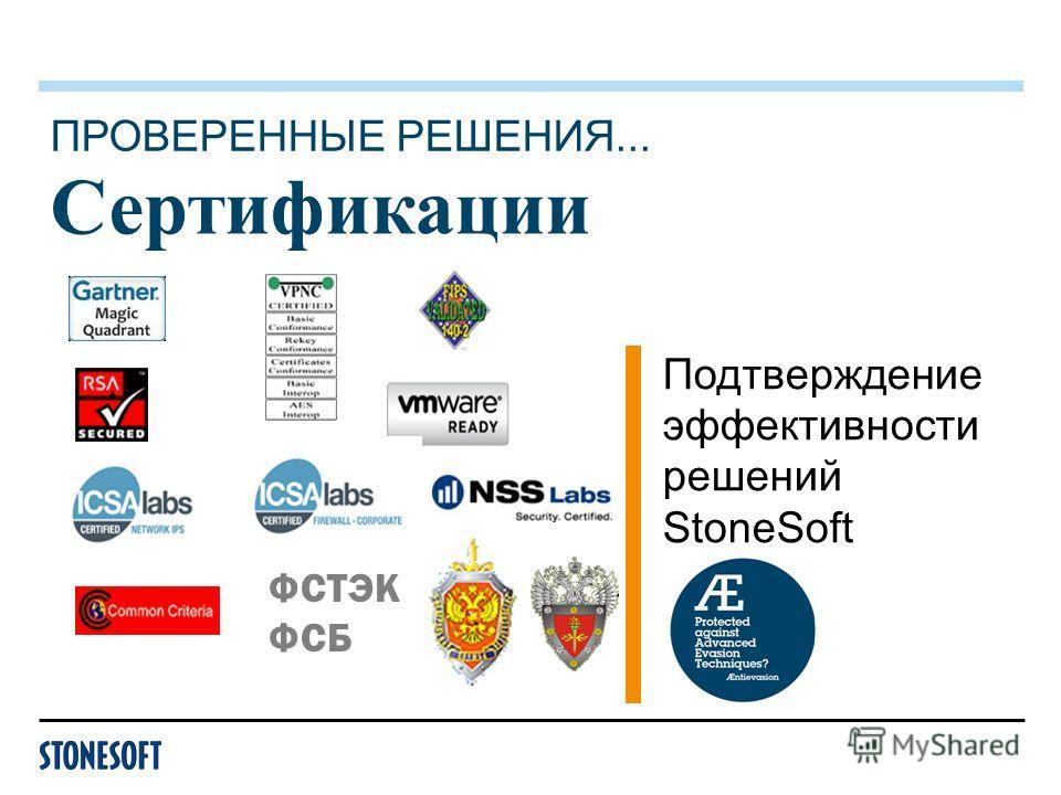 Сертификации Подтверждение эффективности решений StoneSoft ПРОВЕРЕННЫЕ РЕШЕНИЯ... ФСТЭК ФСБ