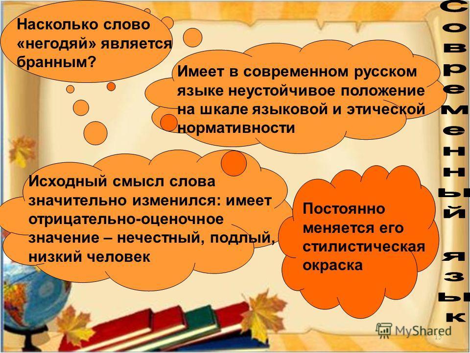 15 Насколько слово «негодяй» является бранным? Имеет в современном русском языке неустойчивое положение на шкале языковой и этической нормативности Исходный смысл слова значительно изменился: имеет отрицательно-оценочное значение – нечестный, подлый,