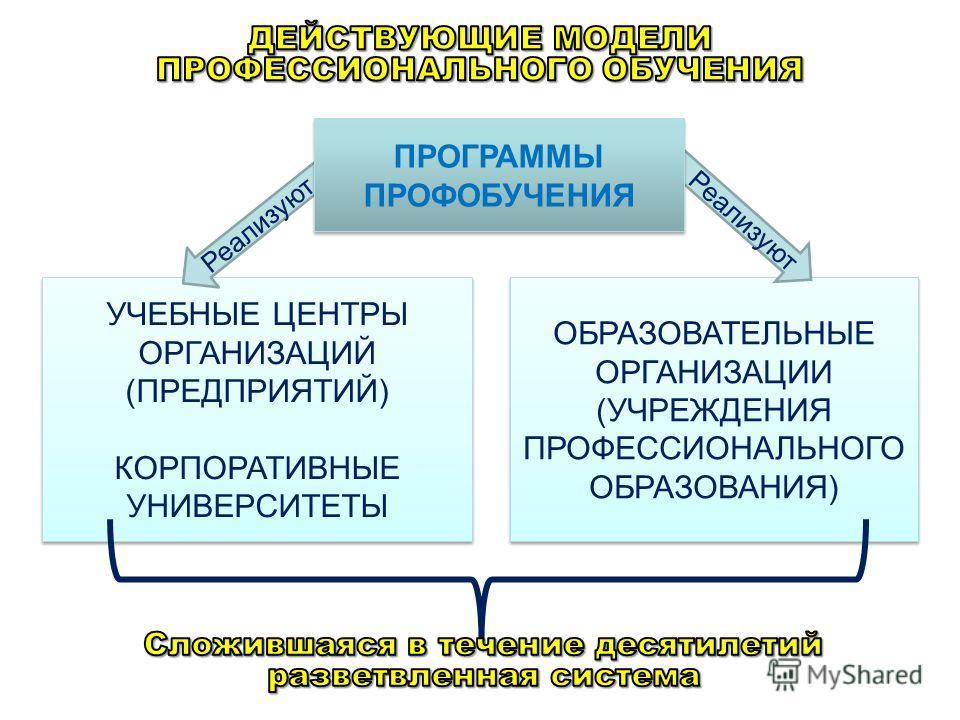 УЧЕБНЫЕ ЦЕНТРЫ ОРГАНИЗАЦИЙ (ПРЕДПРИЯТИЙ) КОРПОРАТИВНЫЕ УНИВЕРСИТЕТЫ УЧЕБНЫЕ ЦЕНТРЫ ОРГАНИЗАЦИЙ (ПРЕДПРИЯТИЙ) КОРПОРАТИВНЫЕ УНИВЕРСИТЕТЫ ОБРАЗОВАТЕЛЬНЫЕ ОРГАНИЗАЦИИ (УЧРЕЖДЕНИЯ ПРОФЕССИОНАЛЬНОГО ОБРАЗОВАНИЯ) Реализуют ПРОГРАММЫ ПРОФОБУЧЕНИЯ