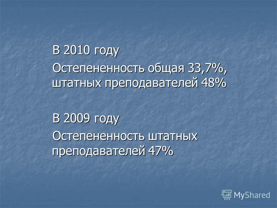 В 2010 году Остепененность общая 33,7%, штатных преподавателей 48% В 2009 году Остепененность штатных преподавателей 47%