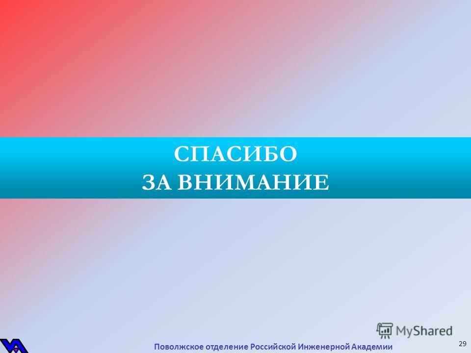 СПАСИБО ЗА ВНИМАНИЕ Поволжское отделение Российской Инженерной Академии 29