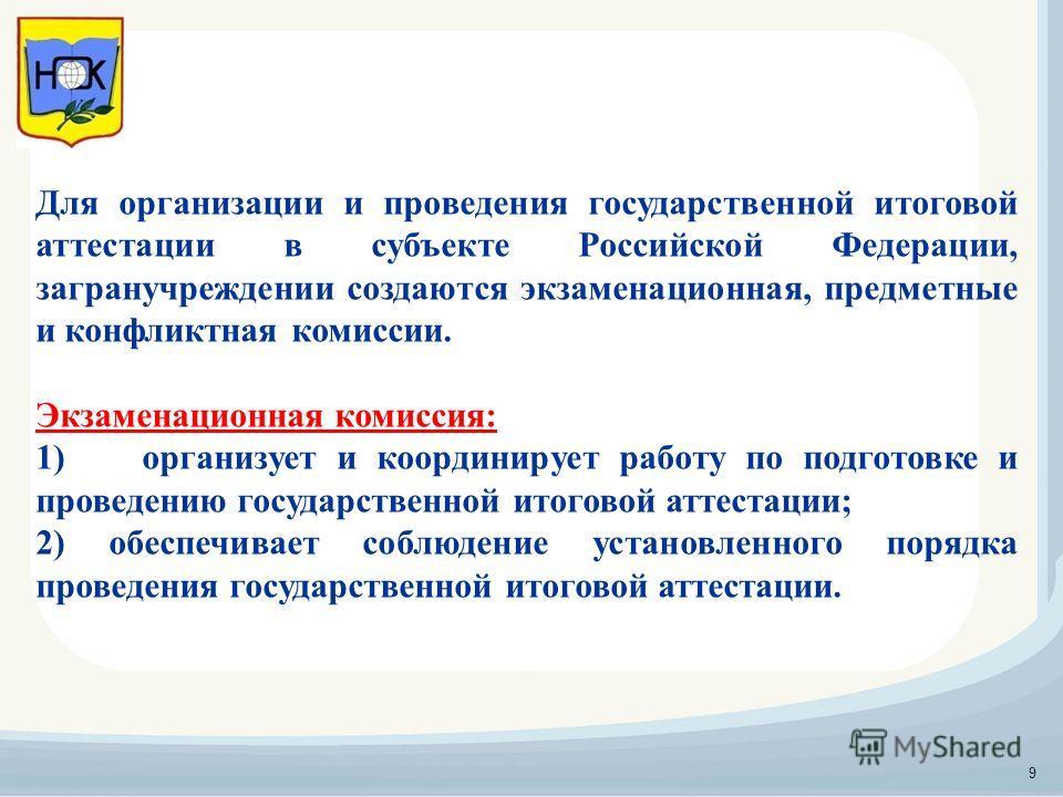 Для организации и проведения государственной итоговой аттестации в субъекте Российской Федерации, загранучреждении создаются экзаменационная, предметные и конфликтная комиссии. Экзаменационная комиссия: 1)организует и координирует работу по подготовк