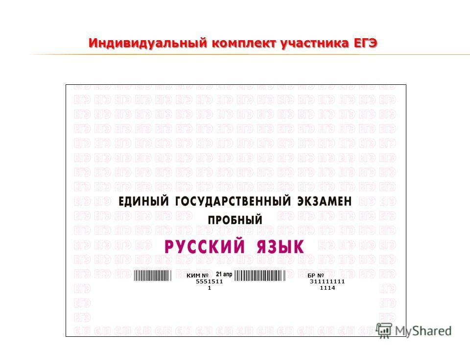 Индивидуальный комплект участника ЕГЭ БР 311111111 1114 КИМ 5551511 1