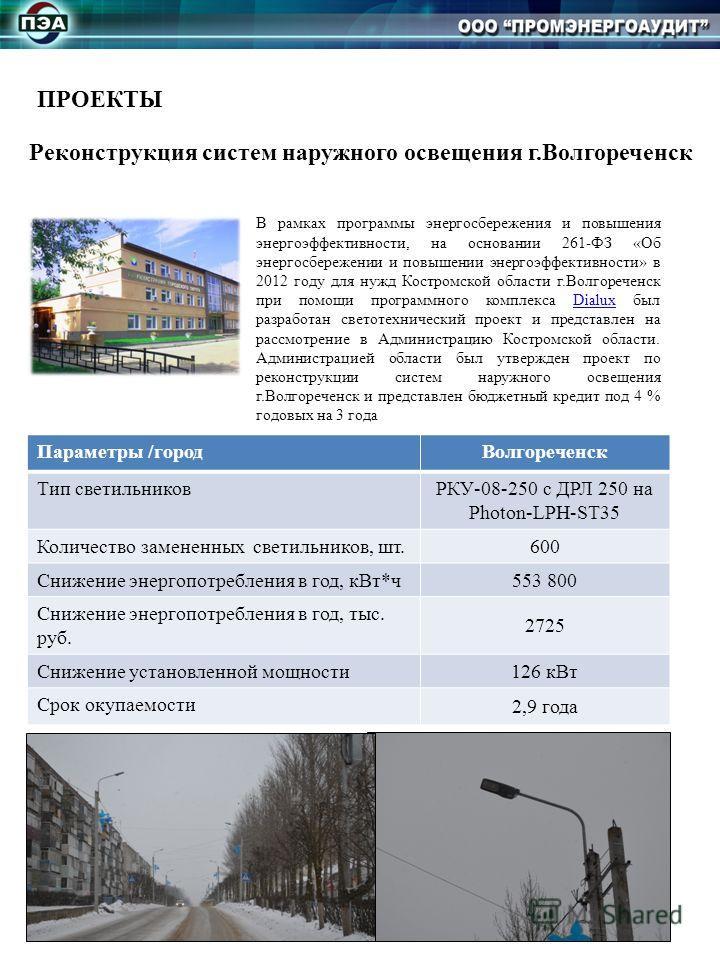 ПРОЕКТЫ Реконструкция систем наружного освещения г.Волгореченск В рамках программы энергосбережения и повышения энергоэффективности, на основании 261-ФЗ «Об энергосбережении и повышении энергоэффективности» в 2012 году для нужд Костромской области г.