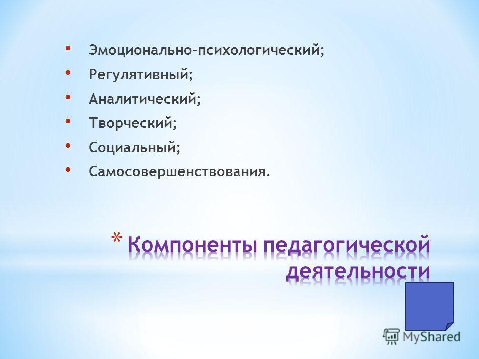 Эмоционально-психологический; Регулятивный; Аналитический; Творческий; Социальный; Самосовершенствования.