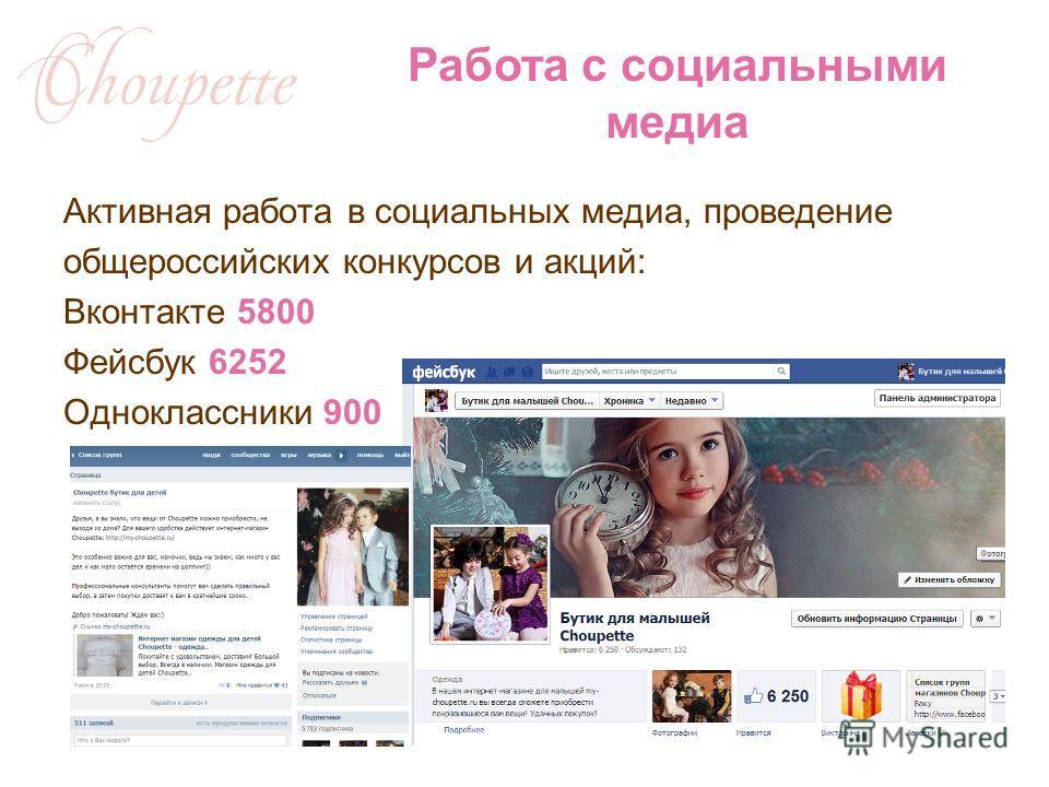 Активная работа в социальных медиа, проведение общероссийских конкурсов и акций: Вконтакте 5800 Фейсбук 6252 Одноклассники 900 Работа с социальными медиа