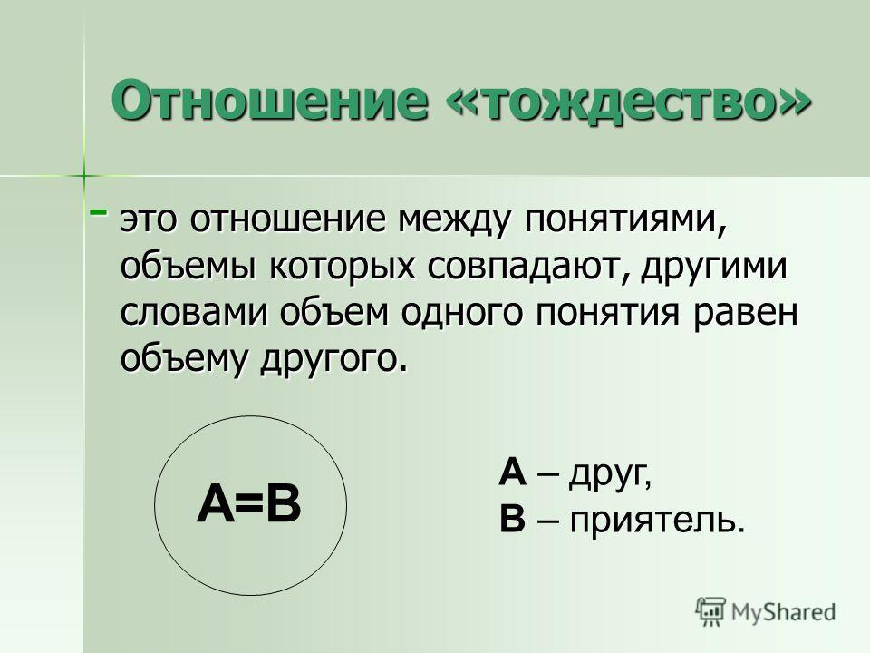 Отношение «тождество» - это отношение между понятиями, объемы которых совпадают, другими словами объем одного понятия равен объему другого. А – друг, В – приятель. А=В