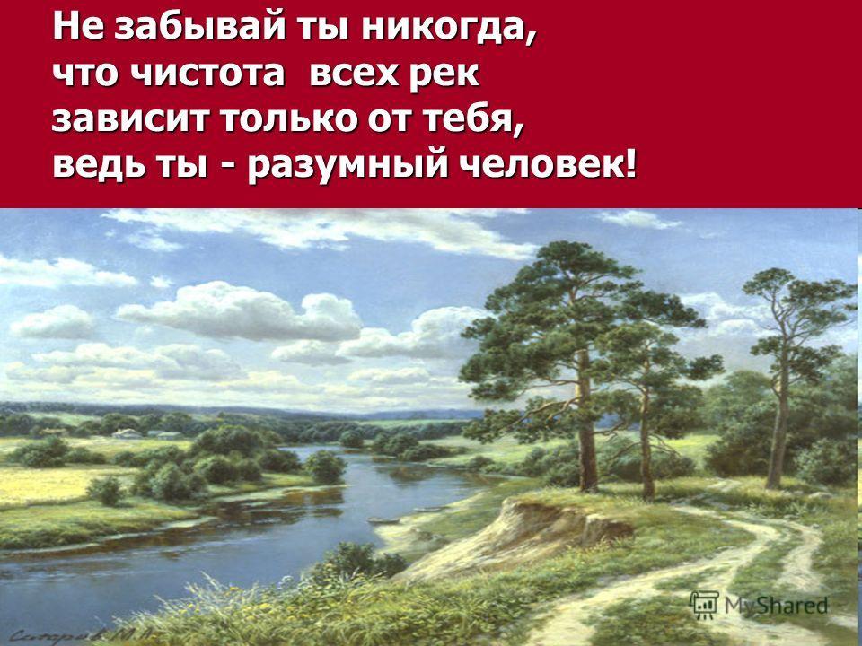 Не забывай ты никогда, что чистота всех рек зависит только от тебя, ведь ты - разумный человек!
