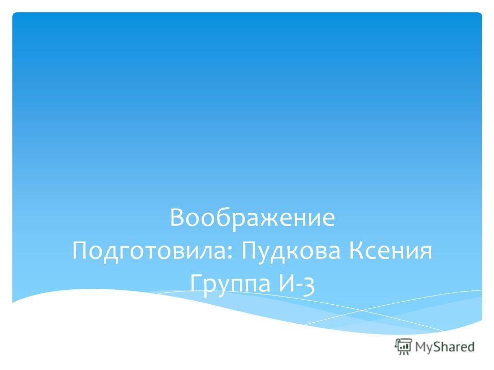 Воображение Подготовила: Пудкова Ксения Группа И-3