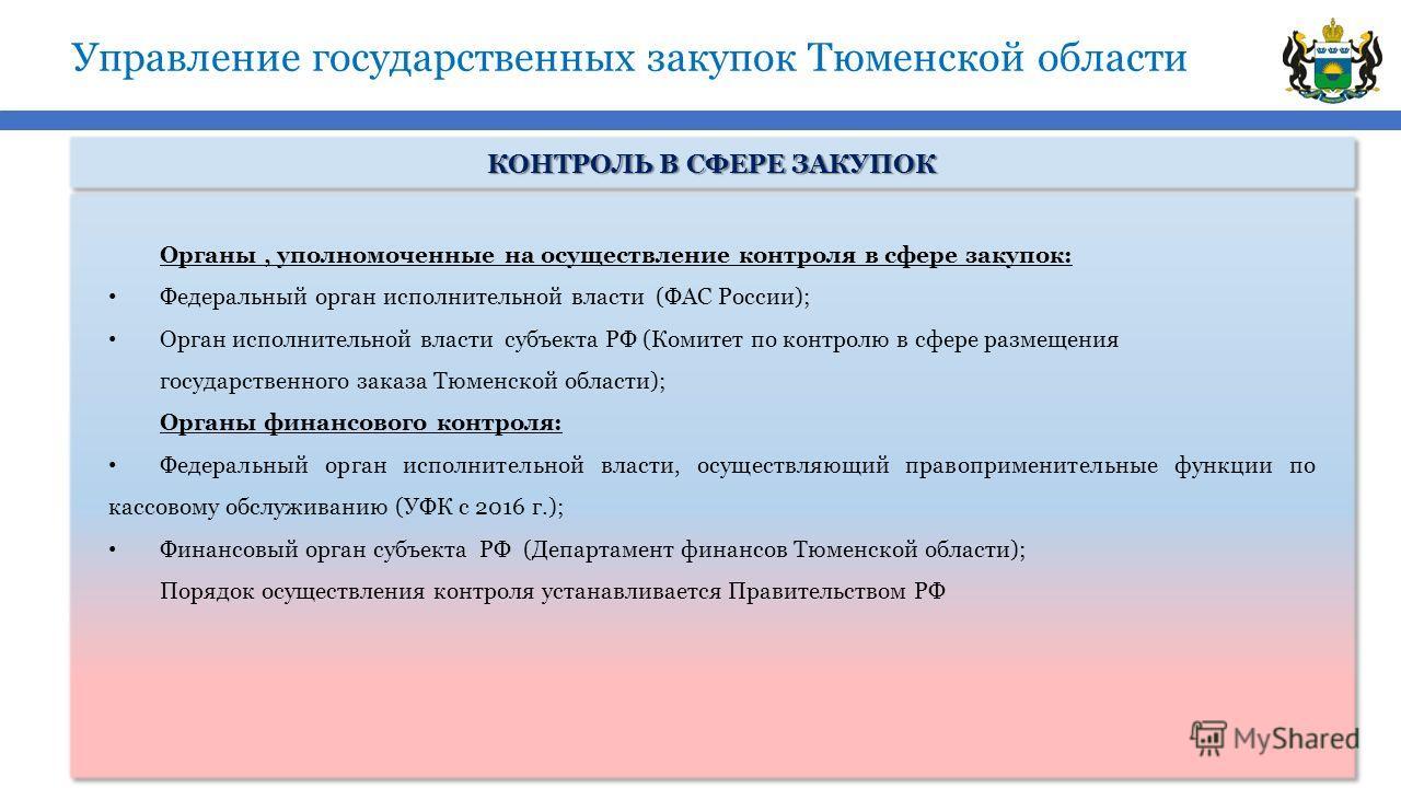 Управление государственных закупок Тюменской области КОНТРОЛЬ В СФЕРЕ ЗАКУПОК