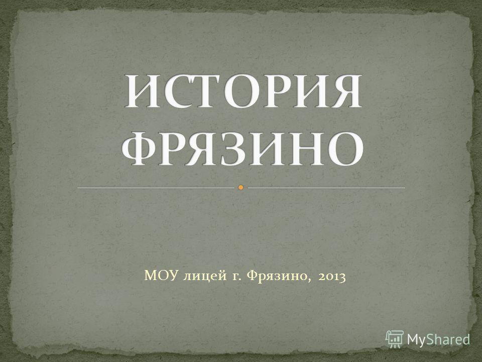 МОУ лицей г. Фрязино, 2013