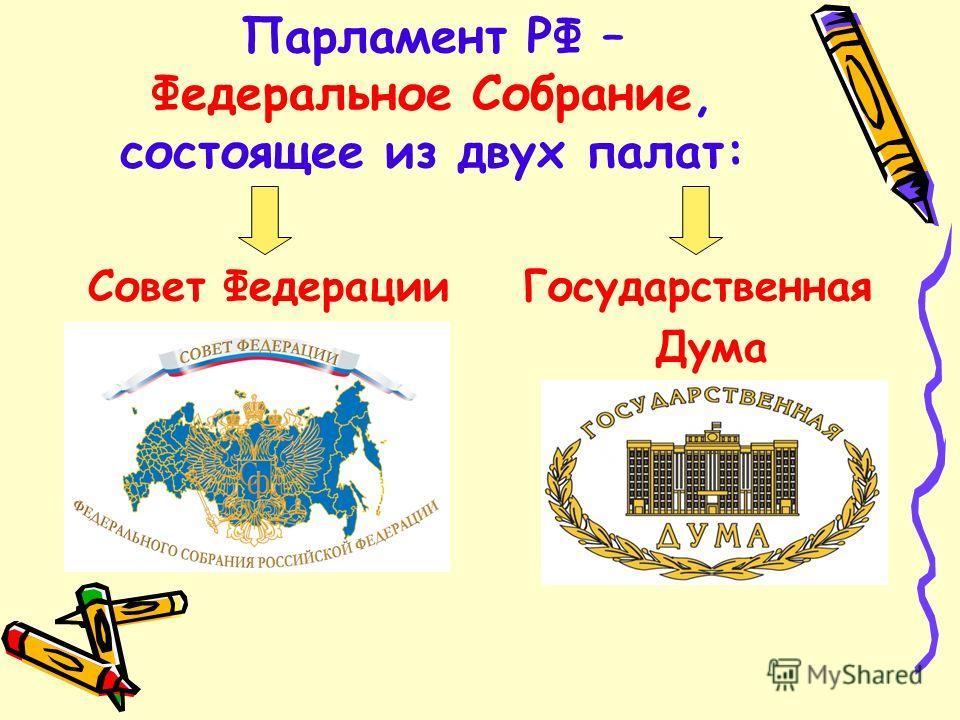 Парламент РФ – Федеральное Собрание, состоящее из двух палат: Совет Федерации Государственная Дума