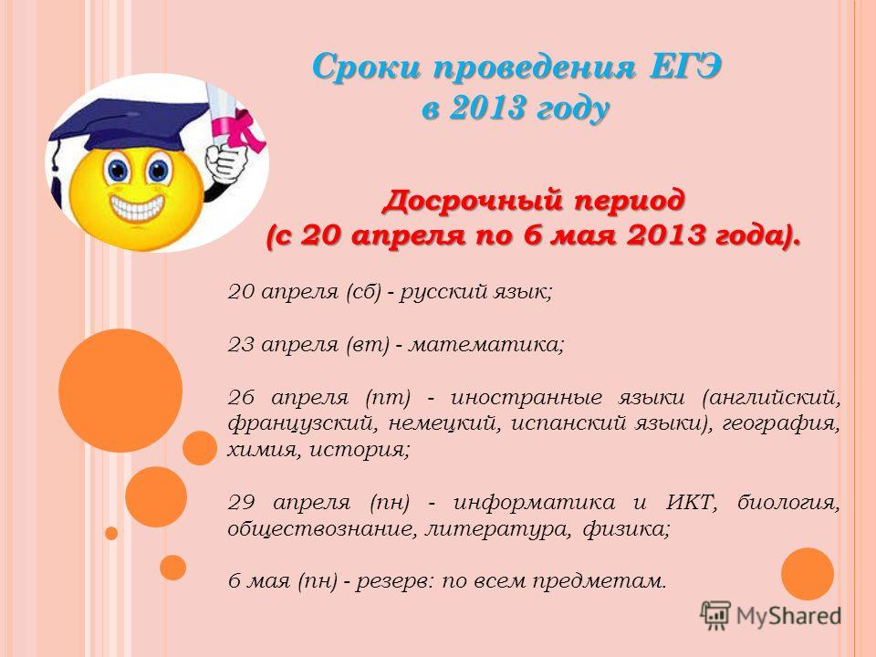 Сроки проведения ЕГЭ в 2013 году Досрочный период (с 20 апреля по 6 мая 2013 года). 20 апреля (сб) - русский язык; 23 апреля (вт) - математика; 26 апреля (пт) - иностранные языки (английский, французский, немецкий, испанский языки), география, химия,