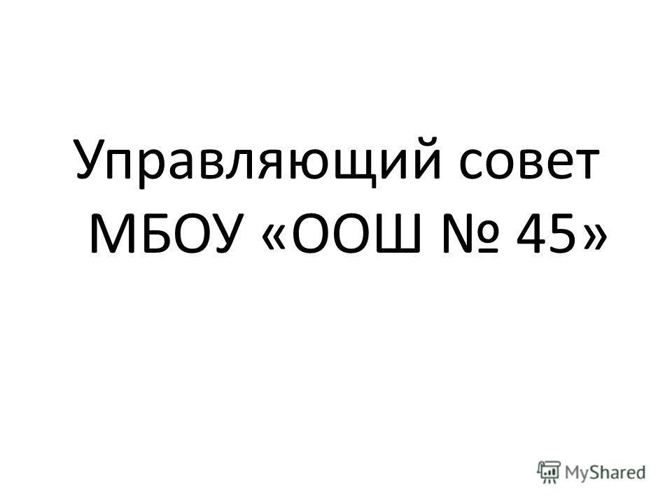 Управляющий совет МБОУ «ООШ 45»