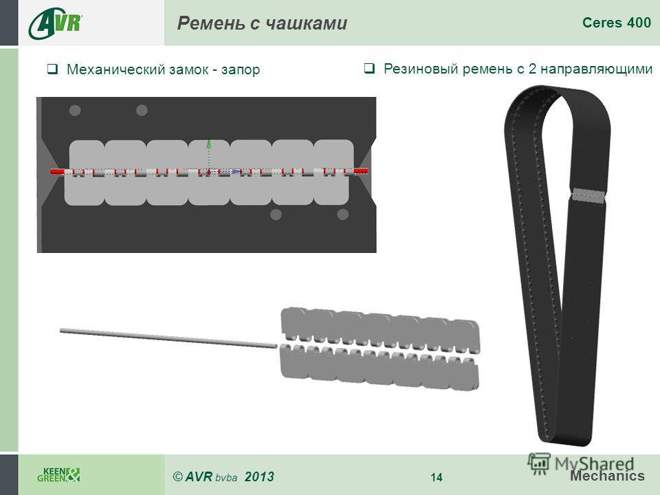 © AVR bvba 2013 14 Ceres 400 Mechanics Ремень с чашками Механический замок - запор Резиновый ремень с 2 направляющими