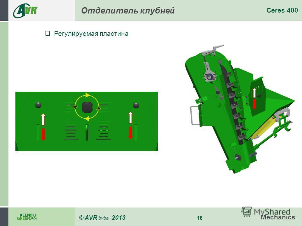 © AVR bvba 2013 18 Ceres 400 Mechanics Отделитель клубней Регулируемая пластина
